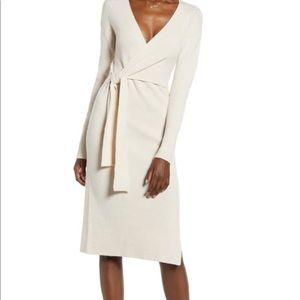 Leith Cream Tie Sweater Dress
